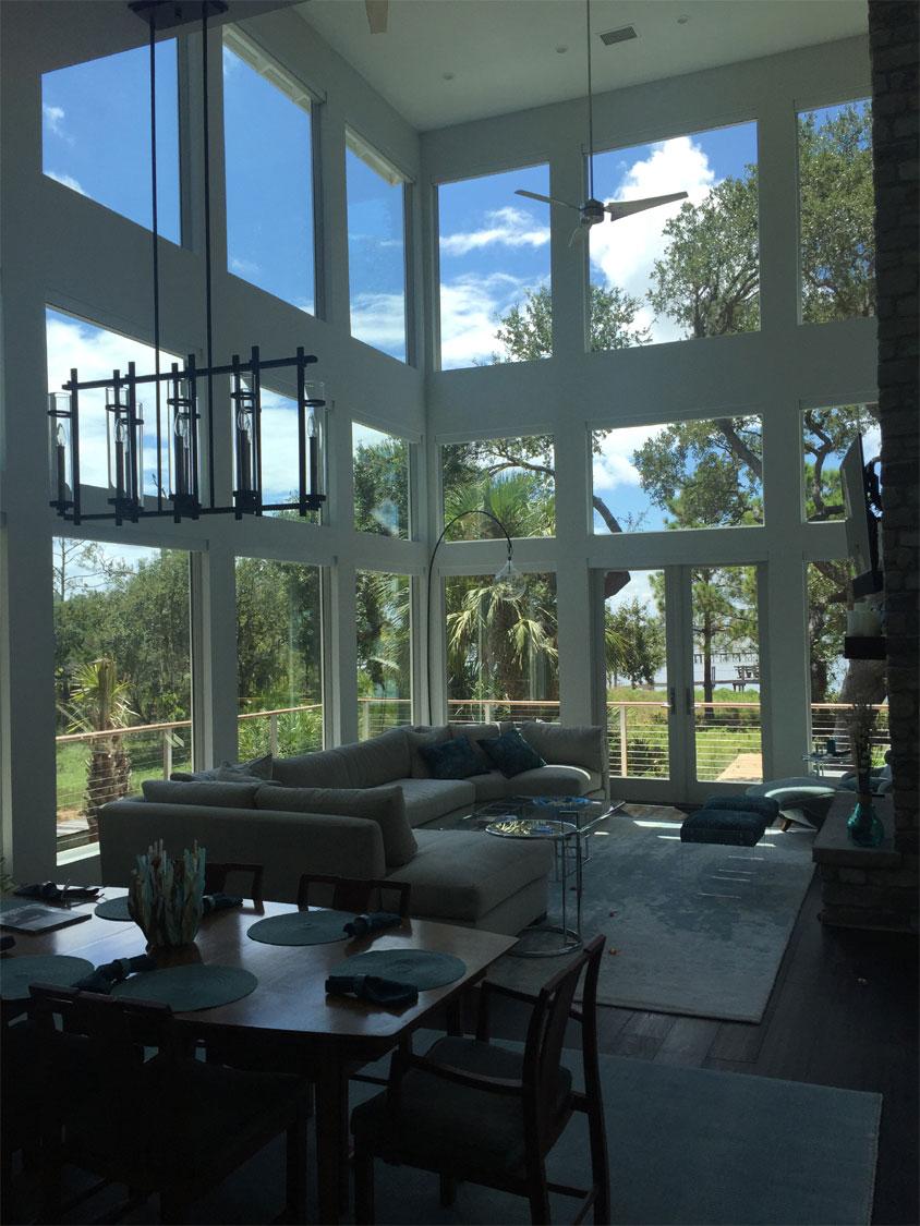 Home with interior window film